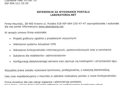 Referencje za portal Laboratoria.net
